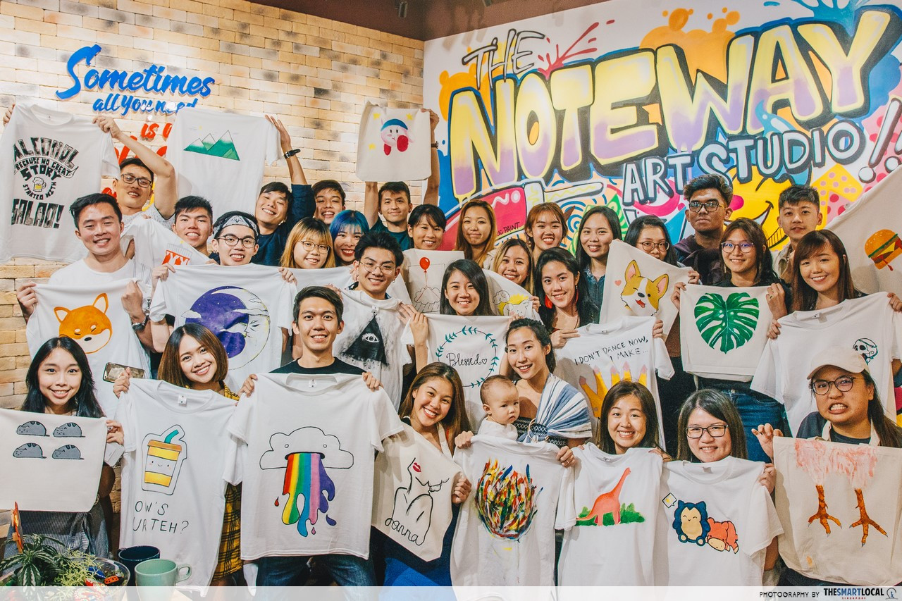 The Noteway Art Studio Offers Art Jamming On T-Shirts And Other Team Building Activities From $19.90/pax