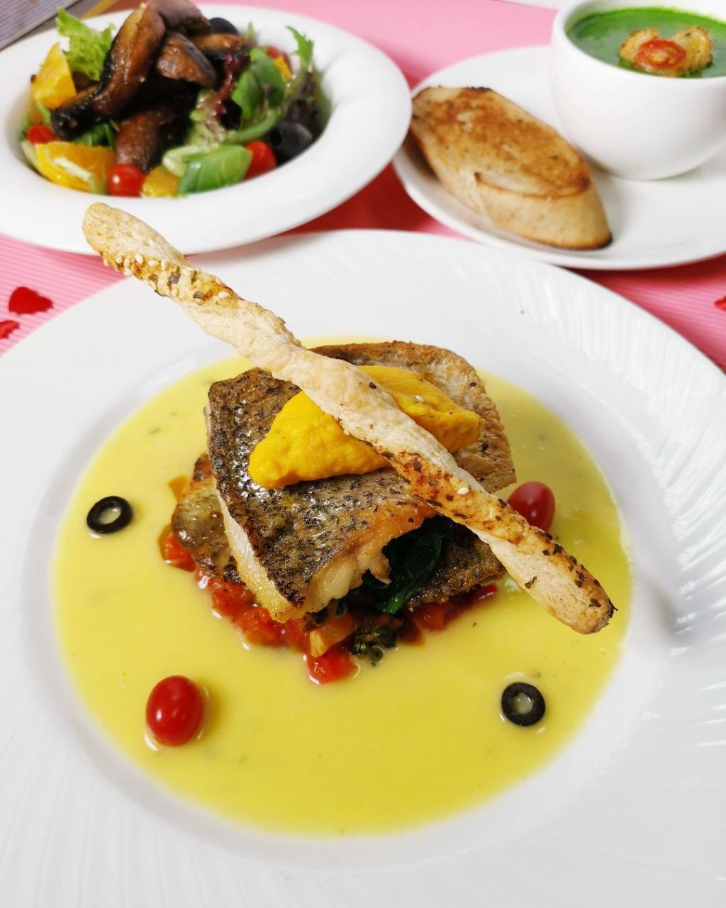 pan seared sea bass brunetti valentine's day set dinner
