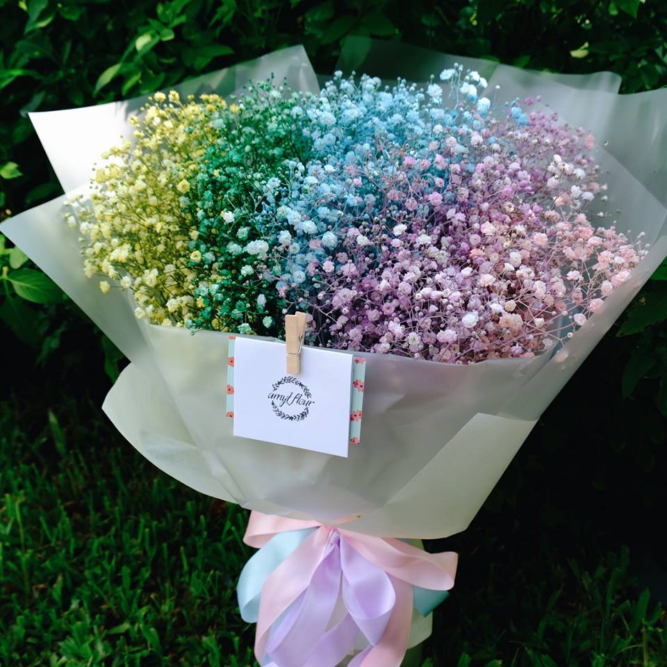 Valentine's Day bouquets under $50 - Rainbow Baby's Breath