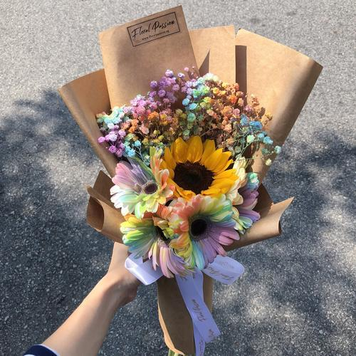 Valentine's Day bouquets under $50 - Sunflower, baby's breath and rainbow gerbera