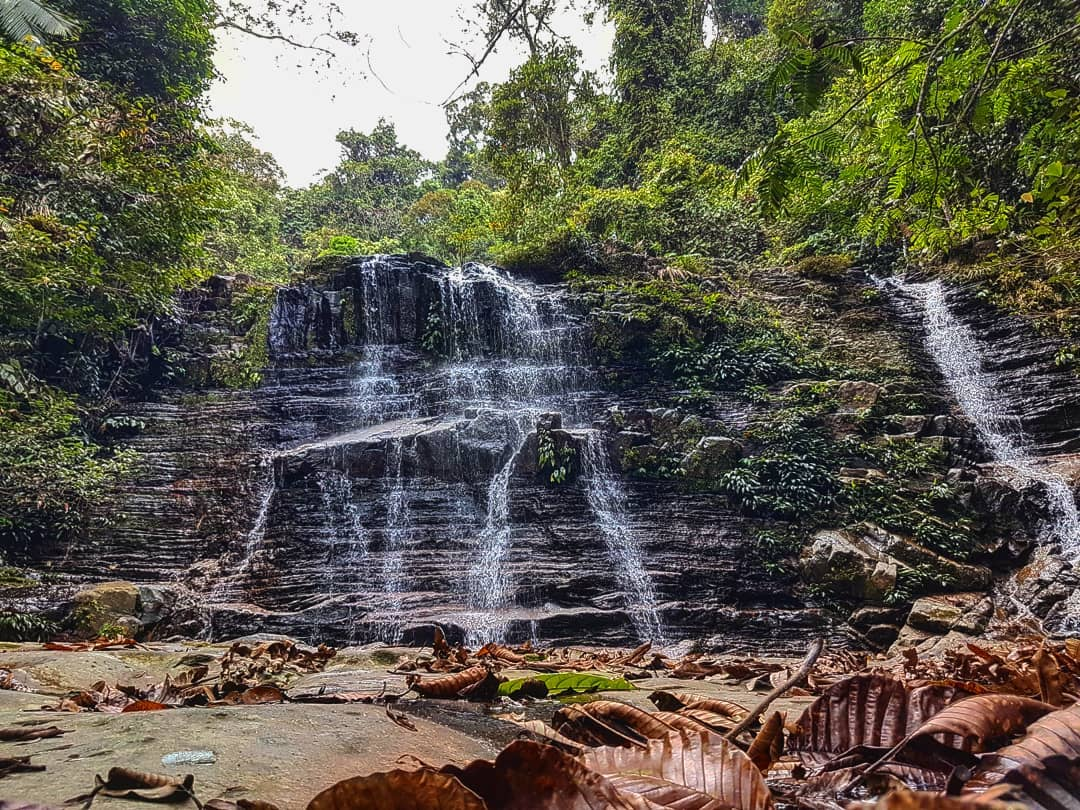 Waterfall along hiking trail of Mount Serapi