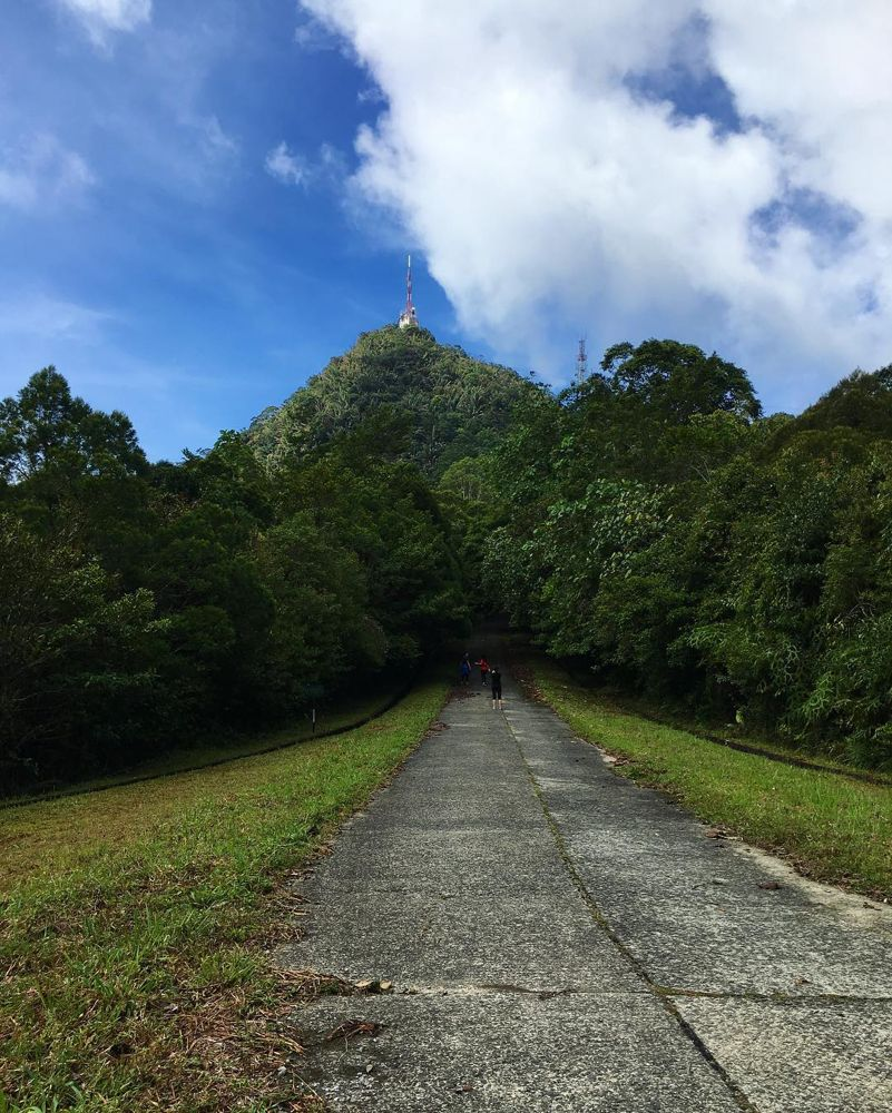 Paved trail leading to peak of Mount Serapi
