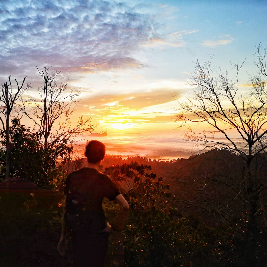 Guy overlooking the sunrise at Panorama Hill