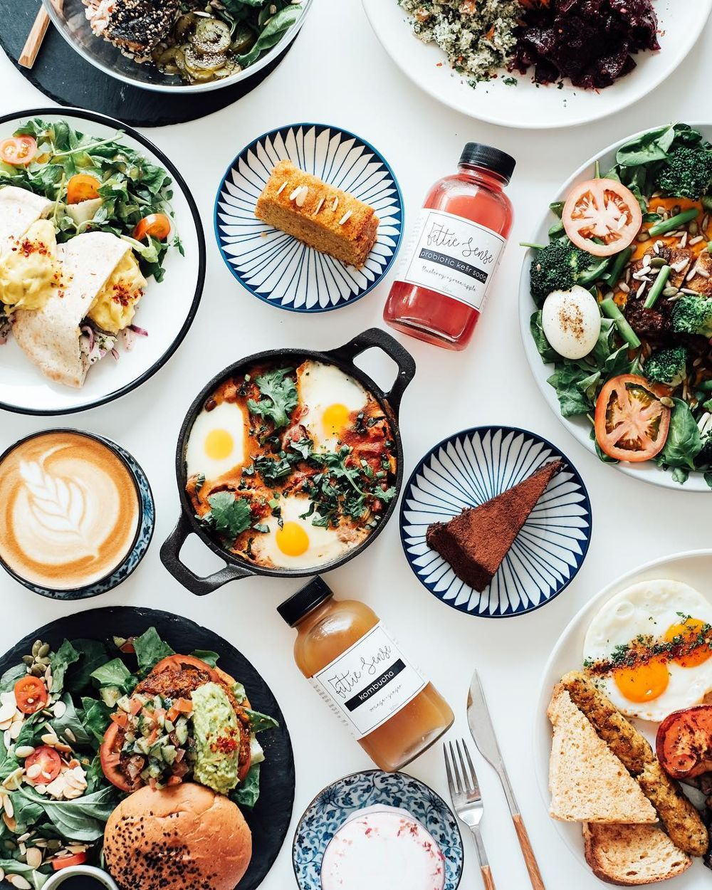 Flatlay of dishes at Fittie Sense