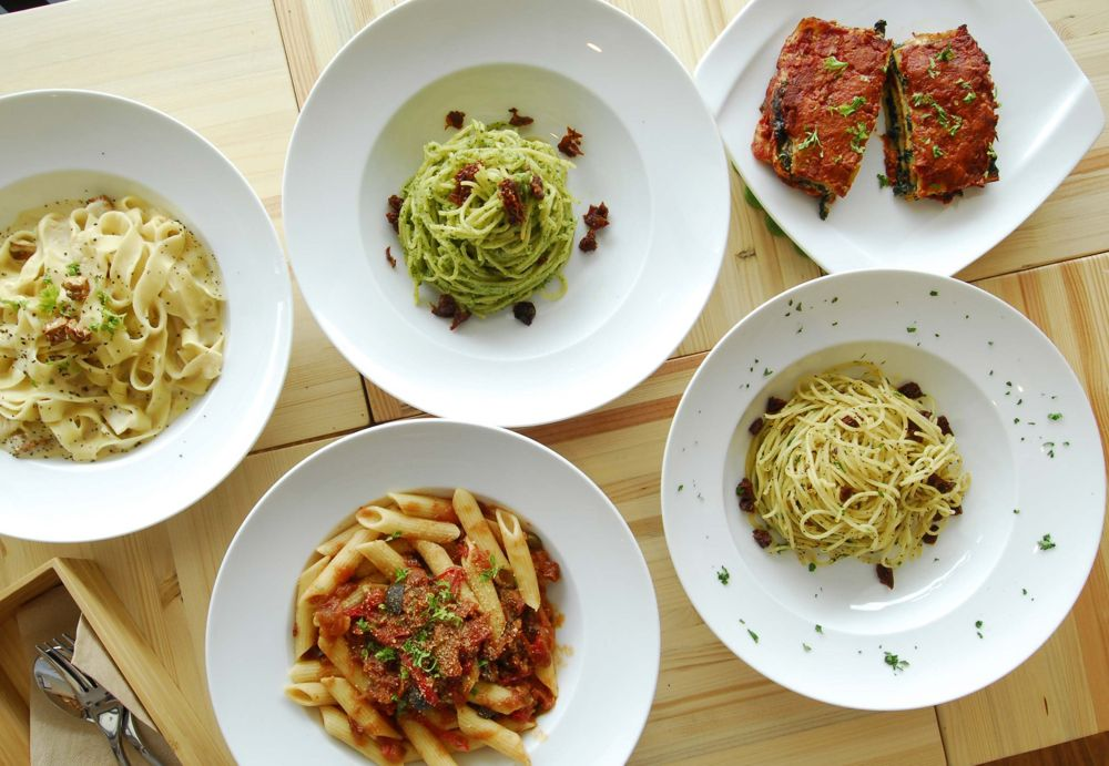 Selection of vegan pastas at LN Fortunatee Coffee