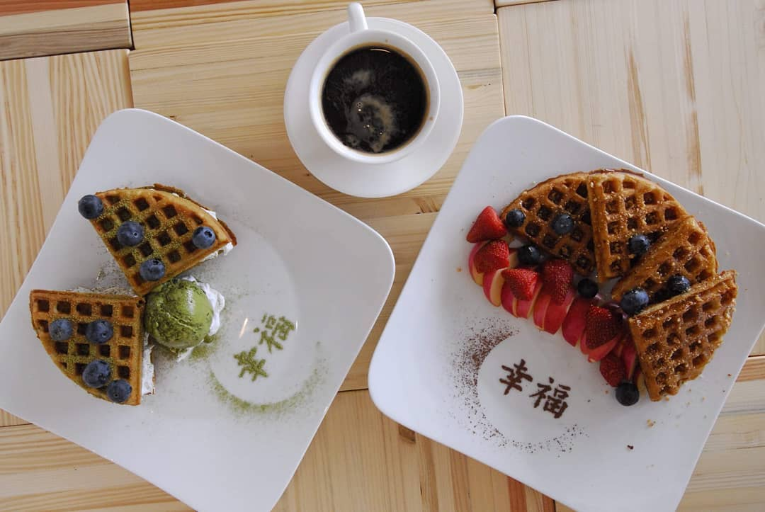 Waffles with berries and strawberries at LN Fortunate Coffee Malaysia