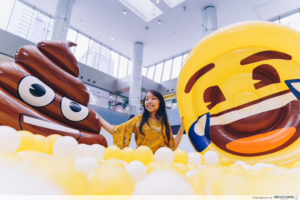marina square emoji themed photo station pop up event ball pit floaties