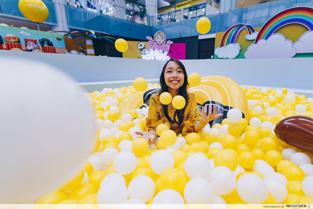marina square emoji themed photo station pop up event ball pit