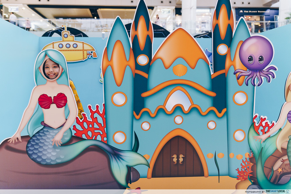 marina square emoji themed photo station pop up event mermaid