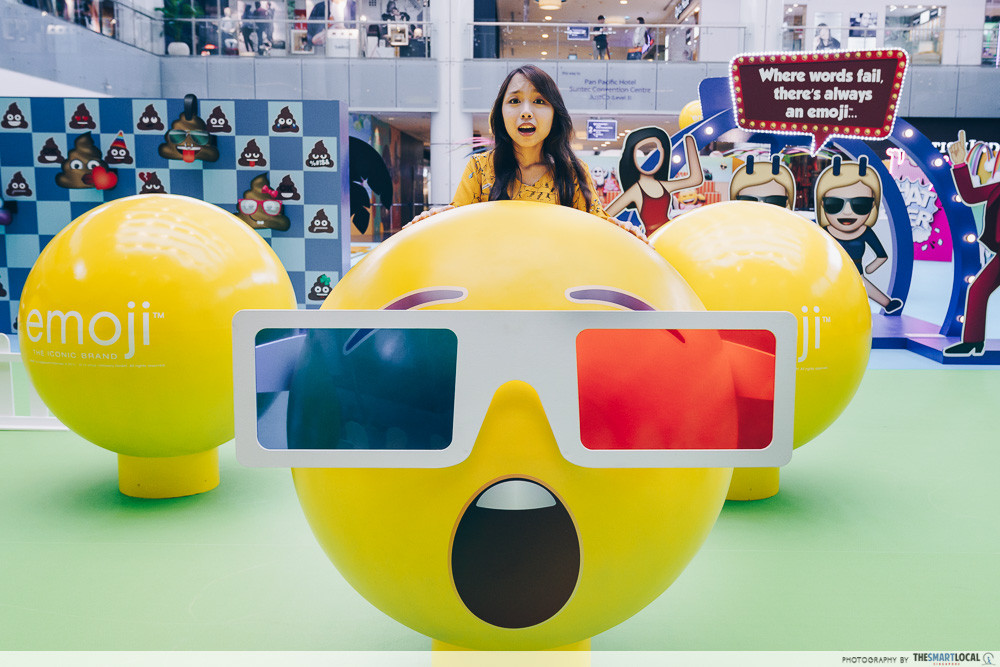 marina square emoji themed photo station pop up event