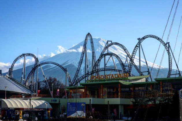 rollercoasters seemingly as tall as mount fuji
