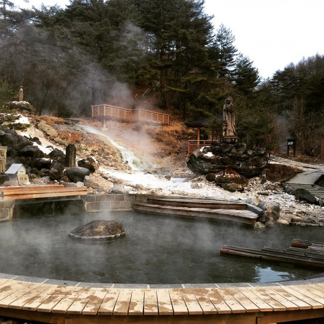 kusatsu onsen outdoors during winter