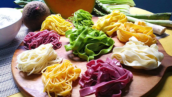 colourful handmade ban mian noodles of different flavours jia lei cooking school