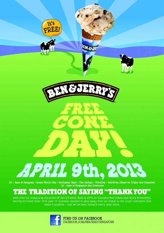 April 9th is Ben & Jerry's Free Cone Day!