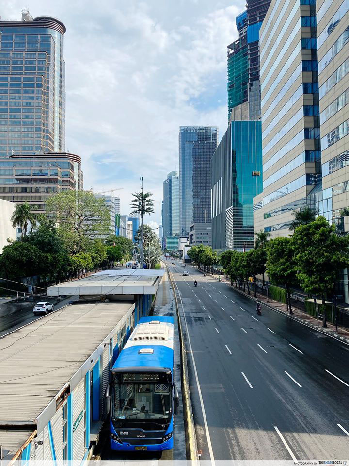 Thamrin Transjakarta Bus Stop on 2nd April 2020