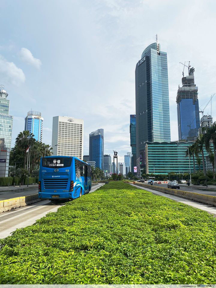 Transjakarta bus lanes in Thamrin on 2nd April 2020