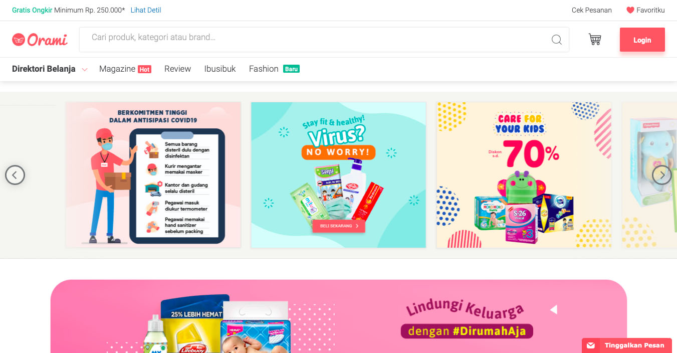 Orami Indonesian online shopping website