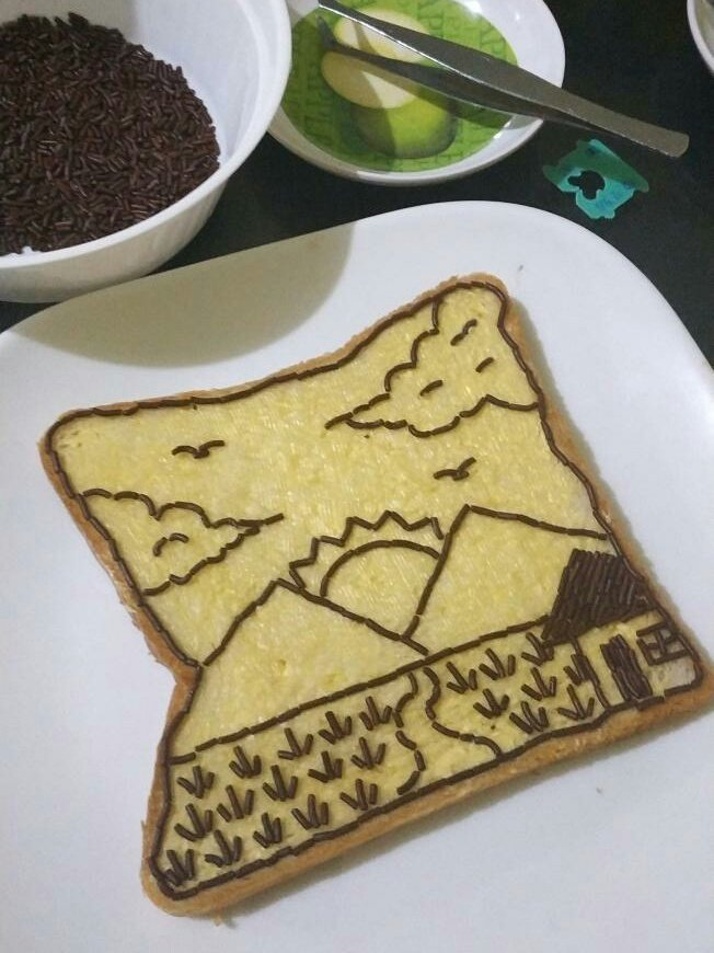 Meses landscape drawing on bread