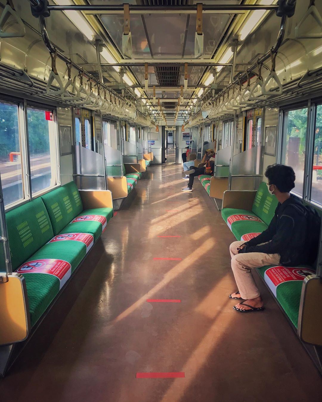 Physical distancing on the commuter line