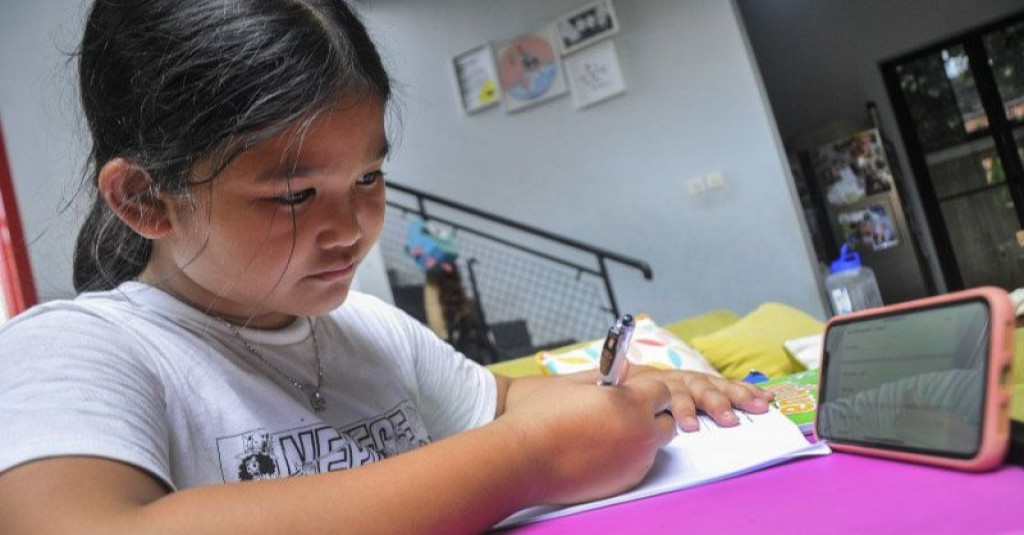 A young pupil is studying at home