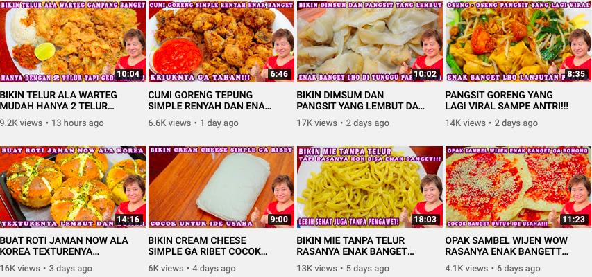Indonesian Youtube cooking channels - Enny Tangerang