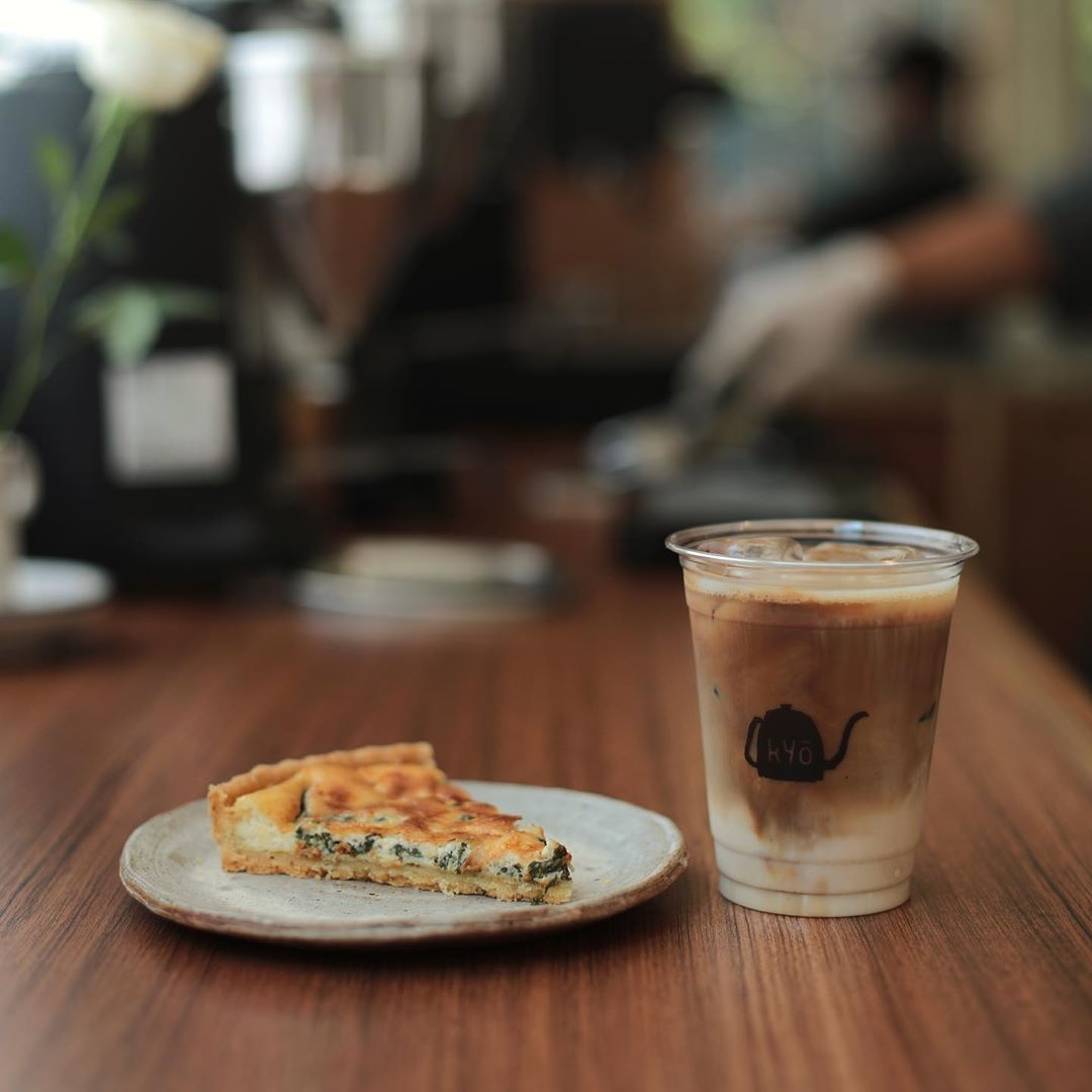 Quiche and coffee at Kyō Coffee