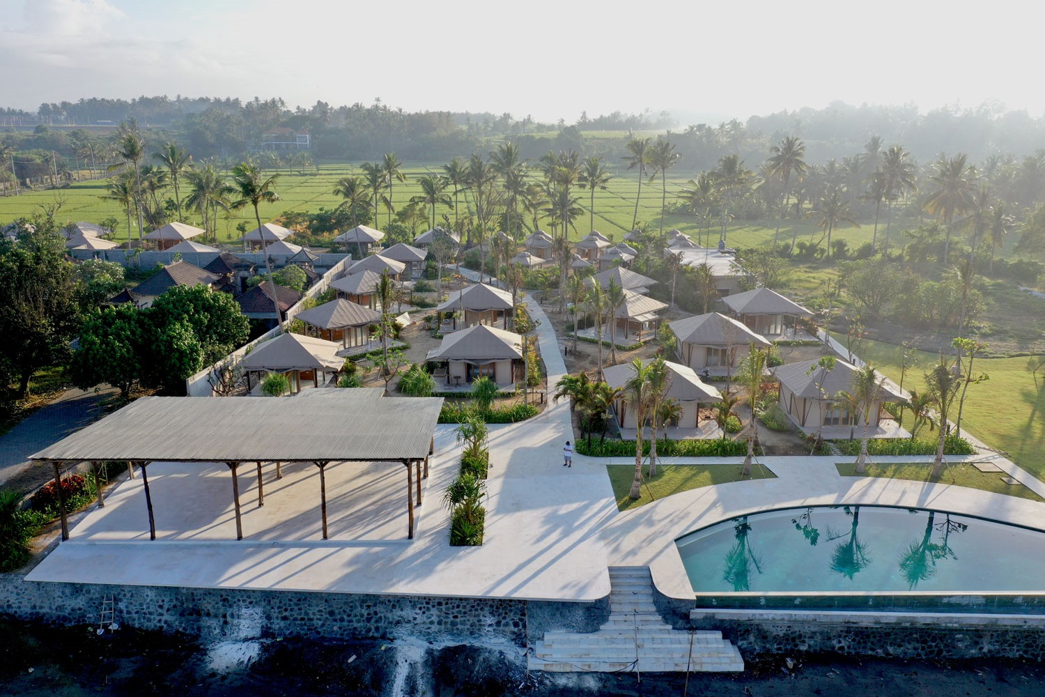 bali beach glamping helicopter view