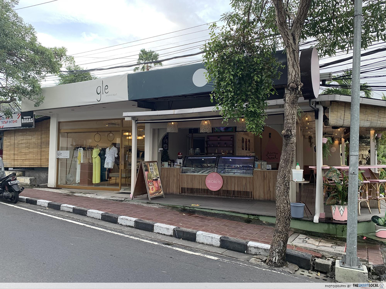 boutique and ice cream shop along petitenget street