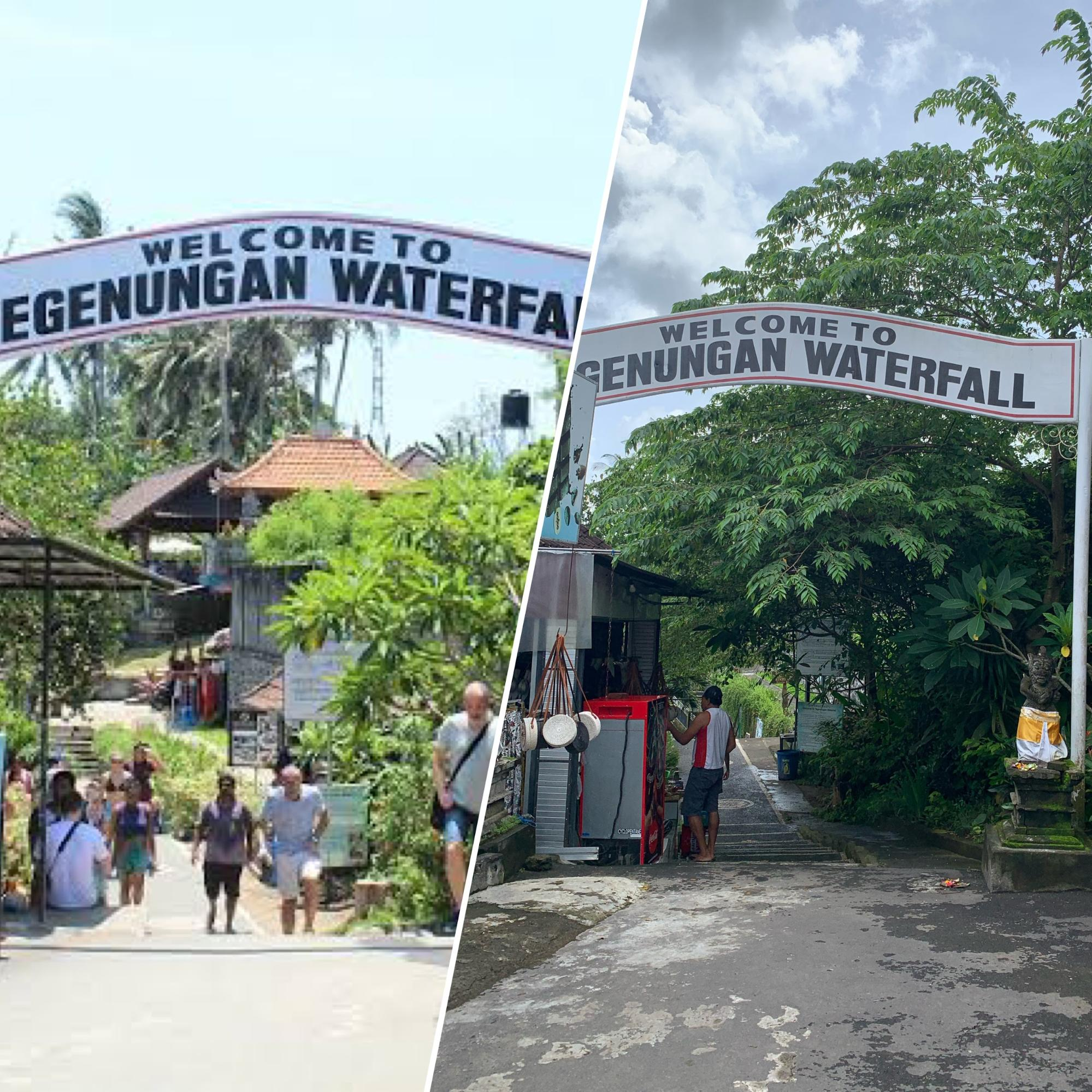 tegenungan waterfall's entrance before and during the pandemic