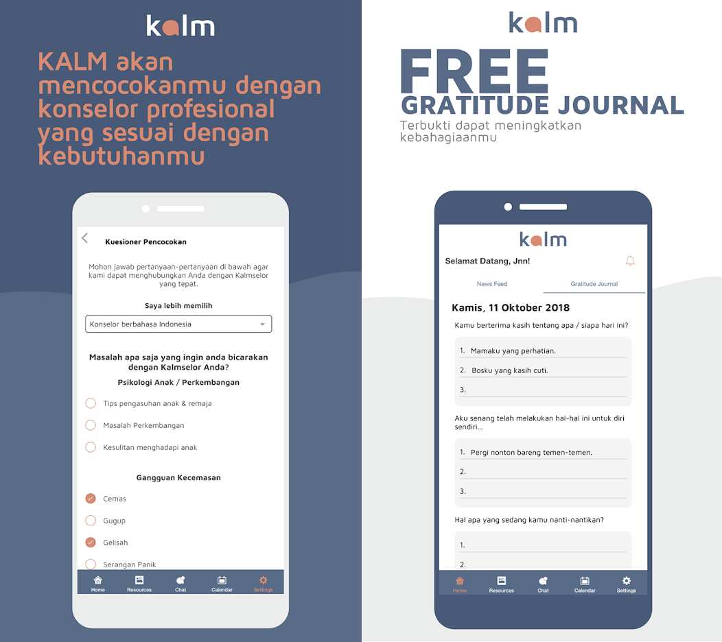 online counselling and therapy - kalm interface