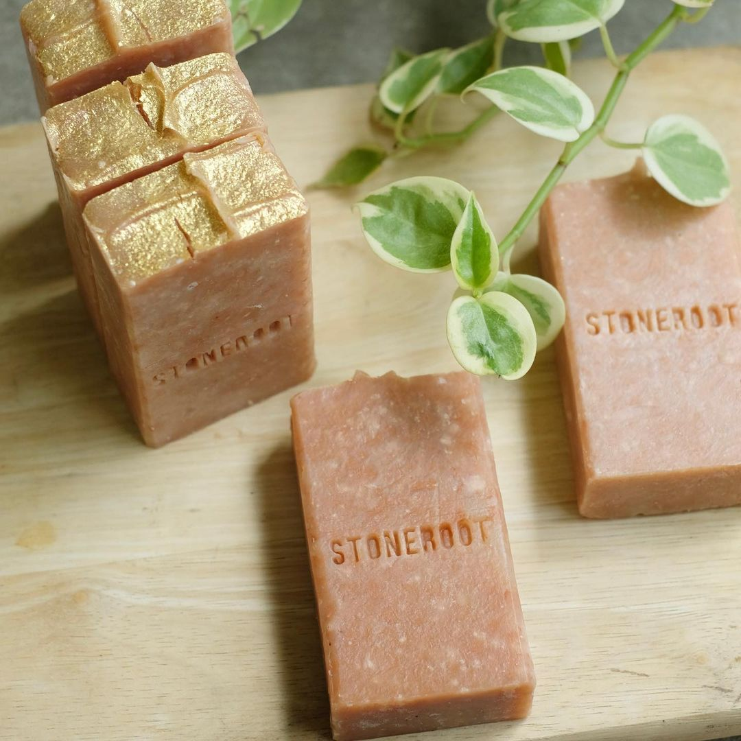 raspberry natural soap bar by stoneroot essentials