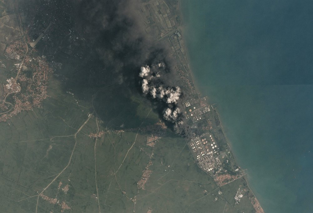 satellite image of the balongan oil refinery