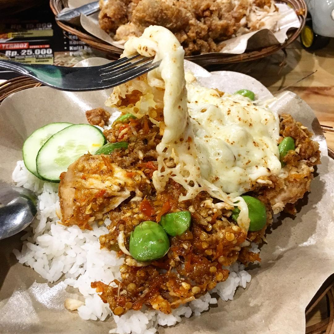 spicy indonesian food - ayam geprek with cheese