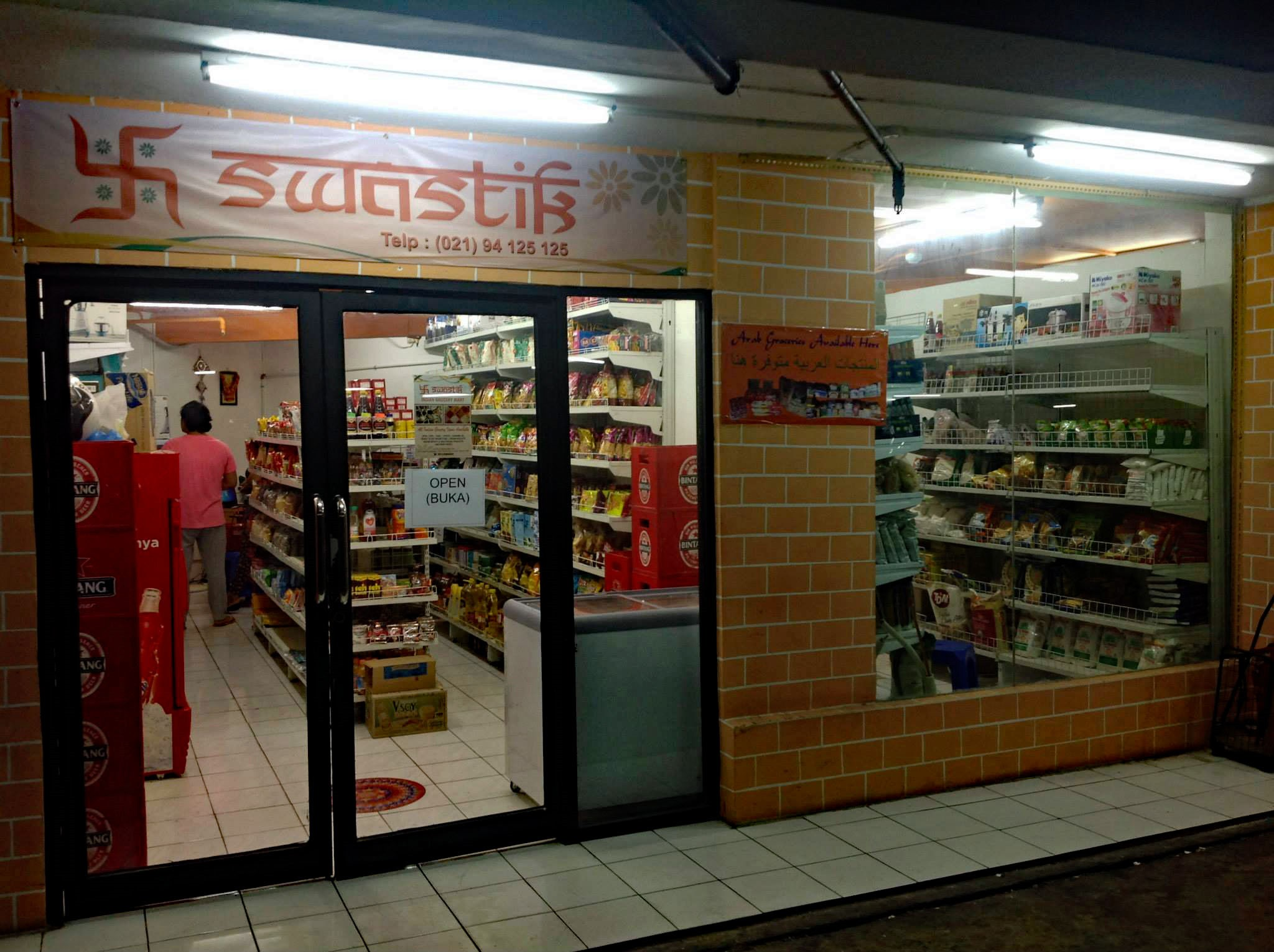 jakarta supermarkets with imported food - swastik mart door
