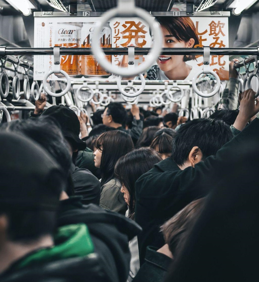 A crowded train during the Japanese rush hour