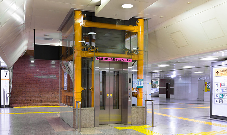 Elevator in a Tokyo train station