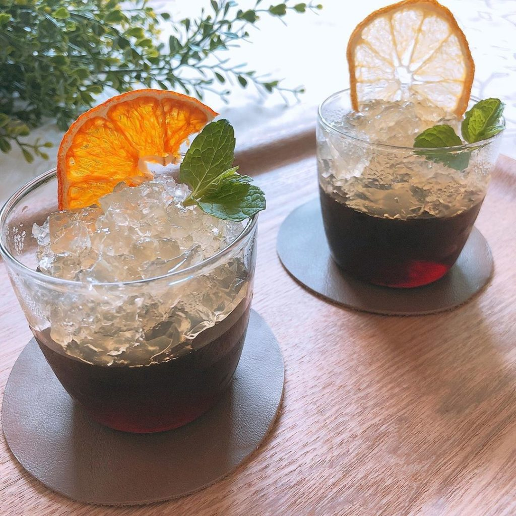 Coffee Jelly Recipes - coffee jelly topped with clear jelly and orange