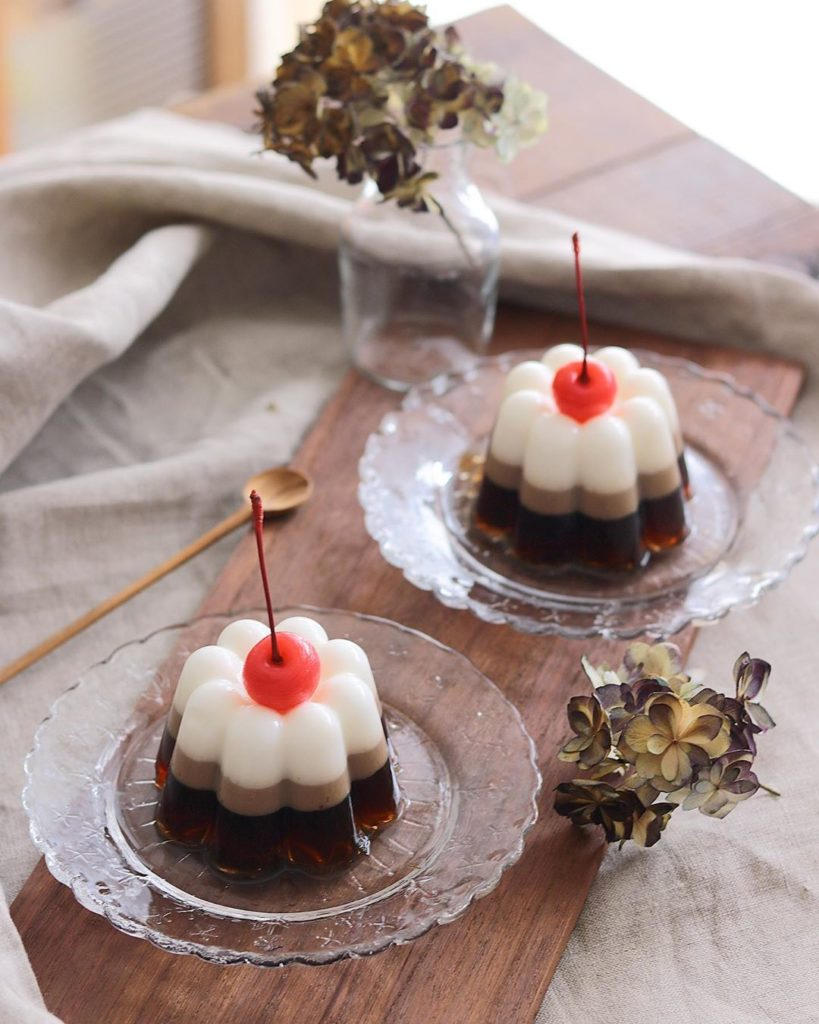 Coffee Jelly Recipes - coffee and milk jelly with cherry