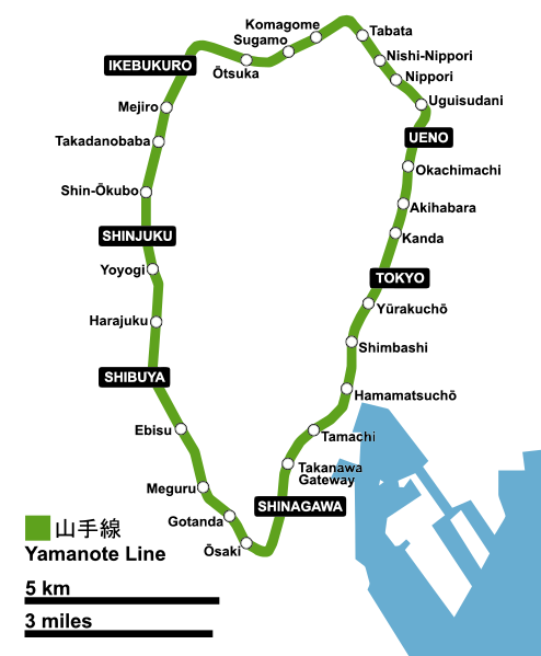 Japanese Drinking Games - yamanote line map