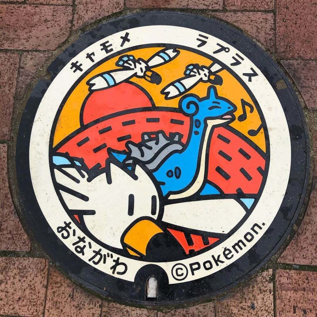 Pokemon manhole covers - Winggull and Lapras Poké Lids located in Onagawa, a small fishing town in Miyagi Prefecture