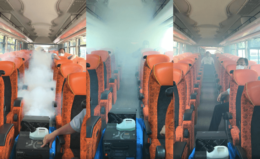 Japanese tour buses turned into maze - hato bus ventilation demonstration