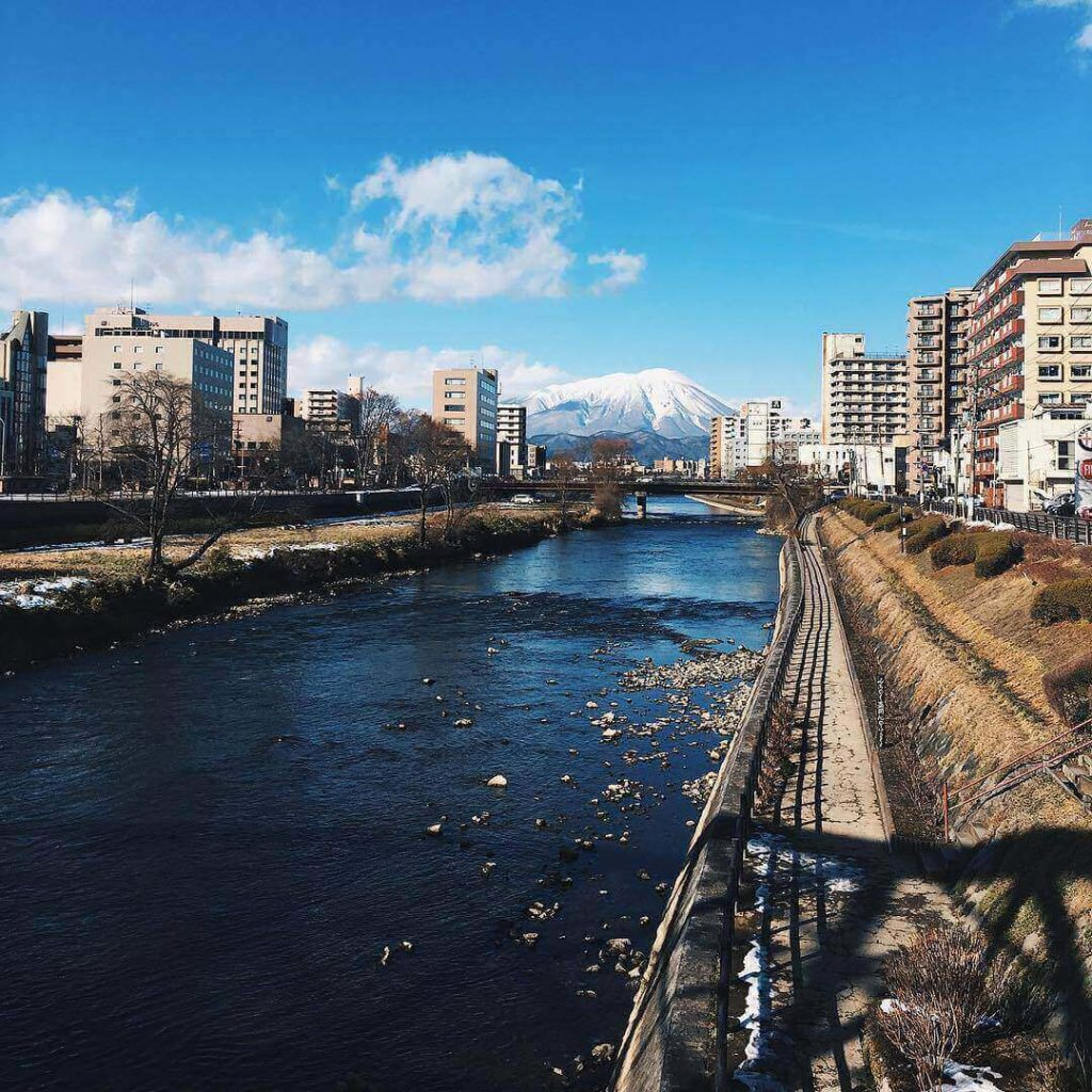 Mountains in Japan - Kitakami river and mount iwate