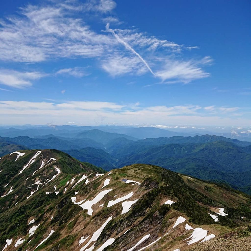 Mountains in Japan - view from Gozengamine Peak, the highest point of Mount Haku