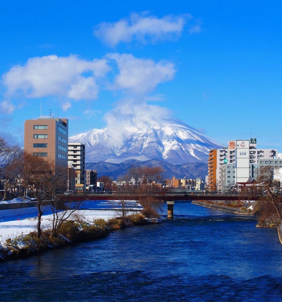 Mountains in Japan - view of mount iwate from morioka city