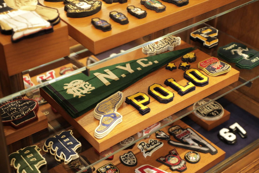 Ralph Lauren café and flagship store - selection of patches at create-your-own station