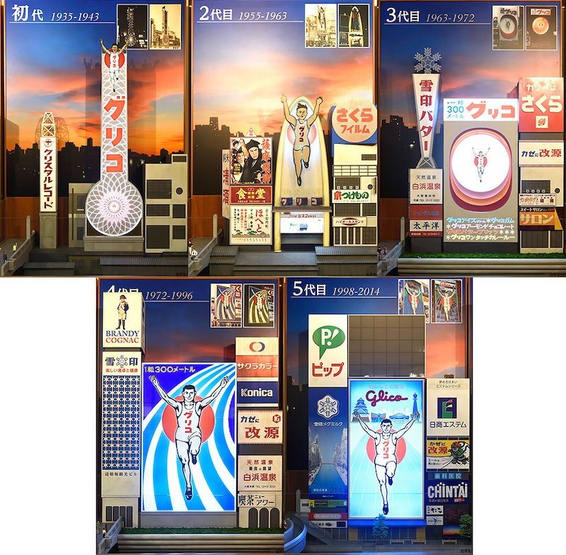 Mysteries in Japan - different generations of glico signboards