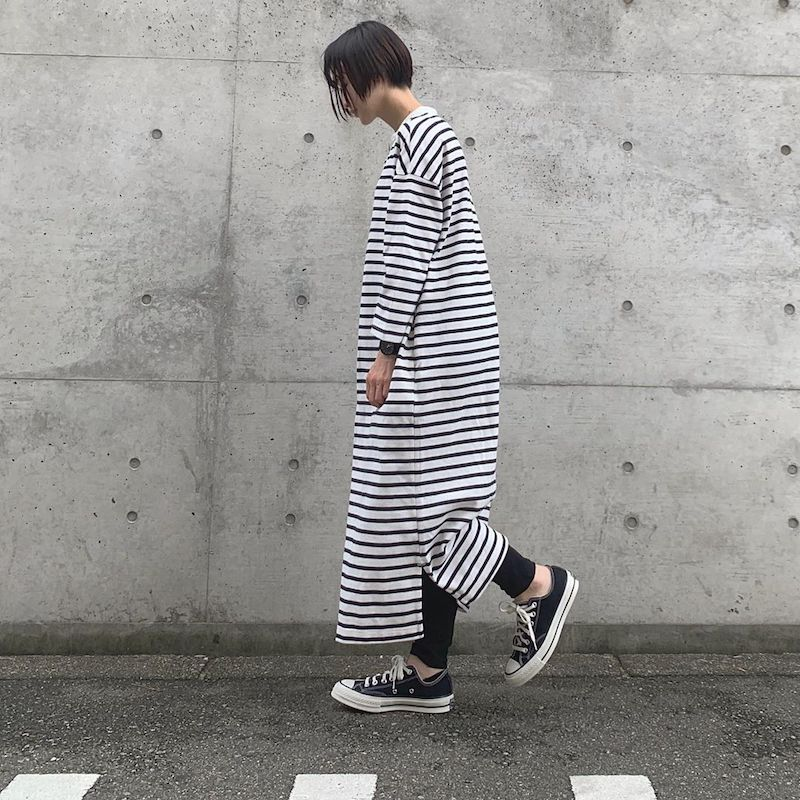 Japanese clothing - striped shirt dress