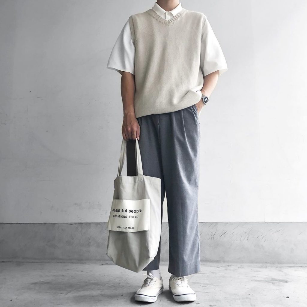 Japanese clothing - gray canvas tote bag