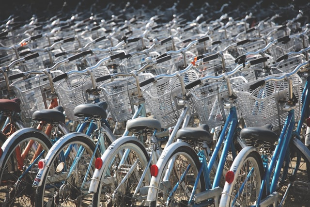 Transportation in Japan - rows of bicycles