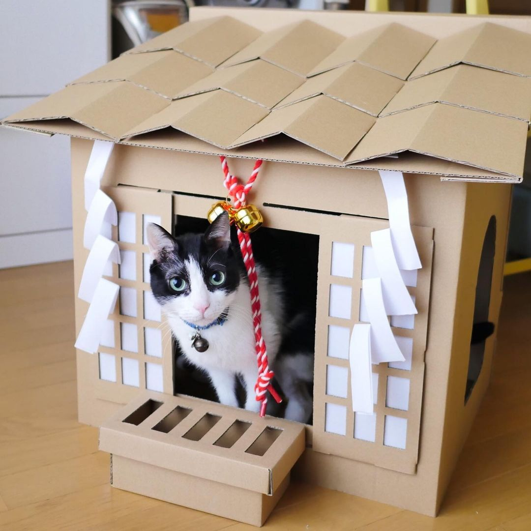 cardboard cat shrine - cat in shrine